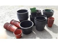 FLOWER POTS, MIXED PLASTIC, APROX 80 IN TOTAL