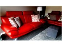 **SCS RED DESIGNER 3&2 SEATER ITALIAN LEATHER SOFA SET**SALE or SWAP!!**