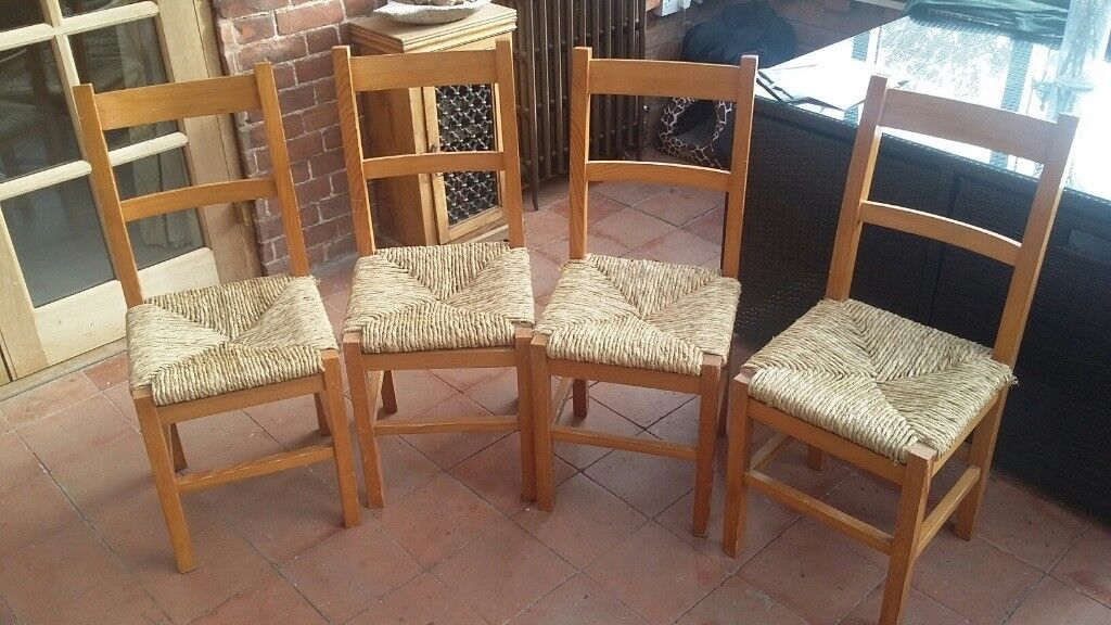 Four pine dining chairs for repair
