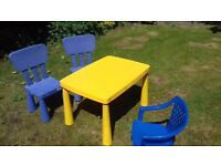 Kids' yellow table and blue chairs: IKEA Mammut, rectangular