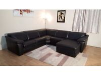 Ex-display Natuzzi Sensor black leather electric recliner large corner sofa