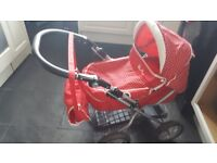 Red dolls pram silver cross includes changing bag and shopping bag ajustable handle