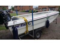 SEA SWIFT 435 FISHING/PLEASURE BOAT, TRAILER, TOHATSU 20HP 4 STROKE OUTBOARD ALL IN GREAT CONDITION