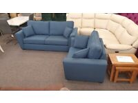 Designer Blue Fabric 3 Seater Sofa & XL Armchair Can Deliver