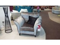 brand new silver crushed velvet arm chair, selling as does not fit in my living room