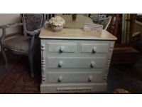 Solid Pine/Vintage Blue Chest Drawers