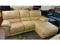 Relax Station Bliss Cream Leather Corner Recliner 3 Seater Chaise Sofa Unit Curved Suite Beige Stone