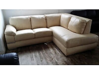 NEW Graded Cream Genuine Leather Lush Corner Sofa Suite FREE LOCAL DELIVERY
