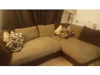 DFS Fabric Brown and Cream Leather Corner Sofa