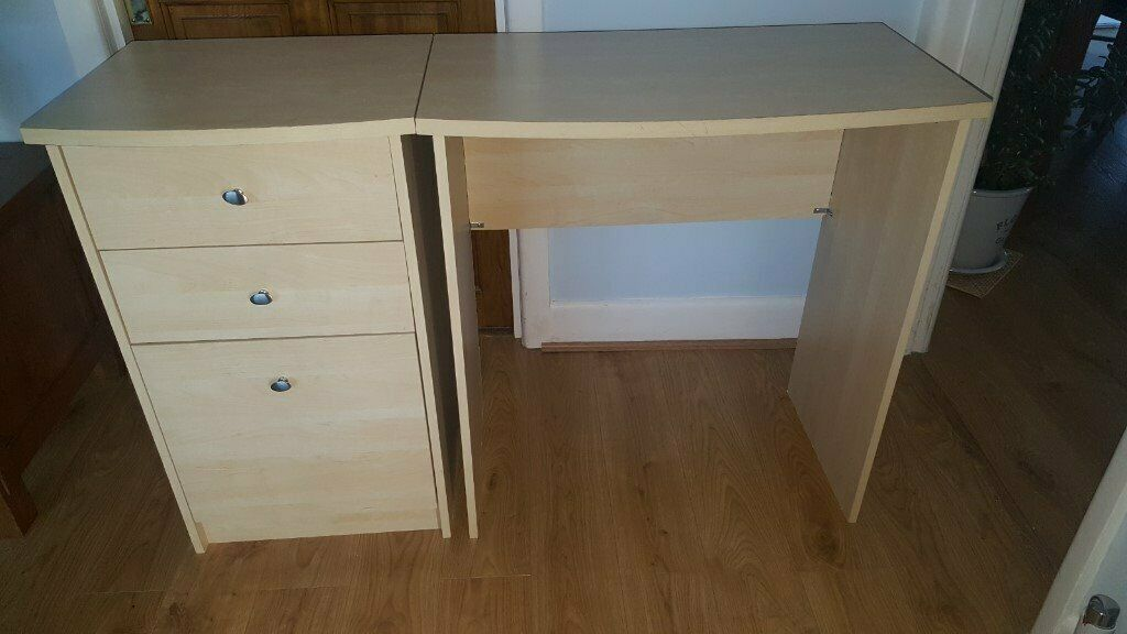 Beech Effect 3 Draw Filing Cabinet And Small Desk Office Bedroom In Hedge End Hampshire Gumtree