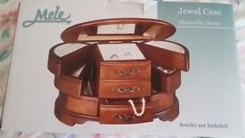 MELE JEWELLERY BOX WITH WALNUT FINISH - NEW AND BOXED