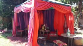 MOROCCAN ARABIAN SHISHA TENT HIRE PERFECT FOR SUMMER GARDEN PARTIES LONDON AND THE HOME COUNTIES