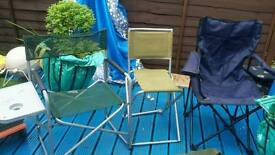 3 garden chairs and a camp bed