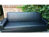 Black 3 Seater Sofa Bed Flux Leather