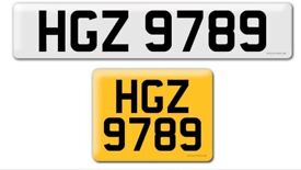 HGZ 9789 private cherished personalised personal registration plate number