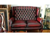 Beautiful ox blood lather 2setter high bage Quinn Anne Chesterfield armchair,Excellent condition