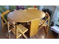Country Cottage Style Drop Leaf Oval Table 4 Dining Chairs Foldaway Store Away Bedside Tables