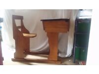 Wooden old school desk with attached chair, excellent condition. Sliding desk top and hinged lid