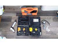 Collection of airtools. Nail gun, Brad Nail gun Nailer and handy briefcase compressor