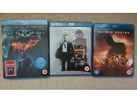 Blu-ray discs Batman Begins, The Dark Knight + Bond Casino Royale