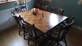Dark Oak Dining Table with 6 Chairs and cushions