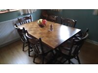 Dark Oak Dining Table and 6 Chairs cushions, with complimentary Sideboard/display unit with lights.