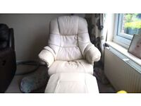 leather chair in cream with foot stool