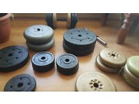 Weight bar and dumbbells