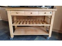 Eddington Lambourn Solid Beech Kitchen Trolley