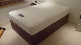 Double divan bed with drawers and very clean Silentnight mattress