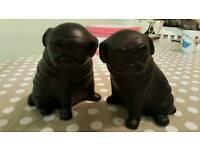 Heavy black pug ornaments