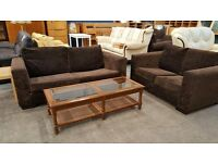 Modern brown 3 and 2 seater low backed sofa set