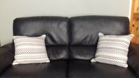 Italian Navy leather 2 and a half recliner settee and chair to match