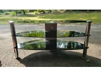 TV stand black glass and chrome