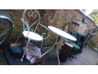 White metal patio table and 2 chairs