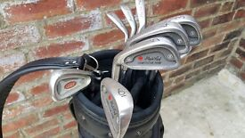 9 Maple Leaf Left Handed Golf Clubs and Maxfli Bag