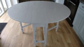 LOVELY SOLID OAK PAINTED DROP LEAF TABLE-SHABBY CHIC STYLE