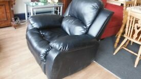 Black leather recliner.