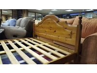 Pine Double bed with Mattress in Great Condition