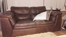 FREE 2 seater and 3 seater Brown leather settees