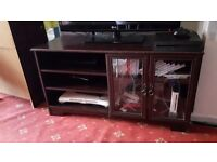 Tv cabinet with 3 shelves and and 2 shelves benind glass doors