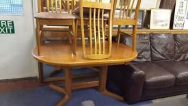 Golden Oak Colour Drop Leaf Table with Four Chairs in Good Condition