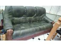 Solid wood Real leather suite