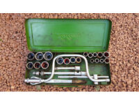 24 piece Saltus socket set, c 1960s. Made in Germany.