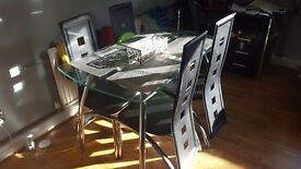Glass dining table chrome legs USED condition TABLE ONLY ****REDUCED****
