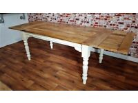Reclaimed Turned Leg Farmhouse Rustic Hardwood Extending Rustic Dining Table - To Seat 6 - 12 people
