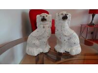 Pair Of Antique Vintage Staffordshire Porcelain 19th Century Spaniel Dog English