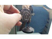Rare Vintage Peacock Letter Card Holder Rack Statue Figurine Office Desk Filing