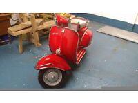1962 vespa 150 sportique restored red/metallic