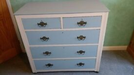 Solid wood chest of drawers, blue and white painted, in vgc